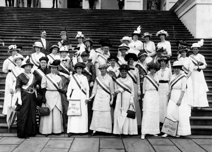 The women's suffrage movement used white as a symbol of moral purity and nonviolence.