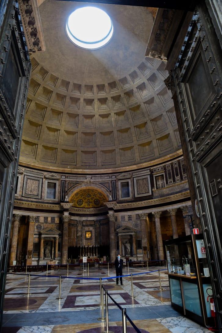 Ancient Roman architects designed a portico for the Pantheon that referenced Greek architecture. But the building's interior is nothing the Greeks could have imagined.