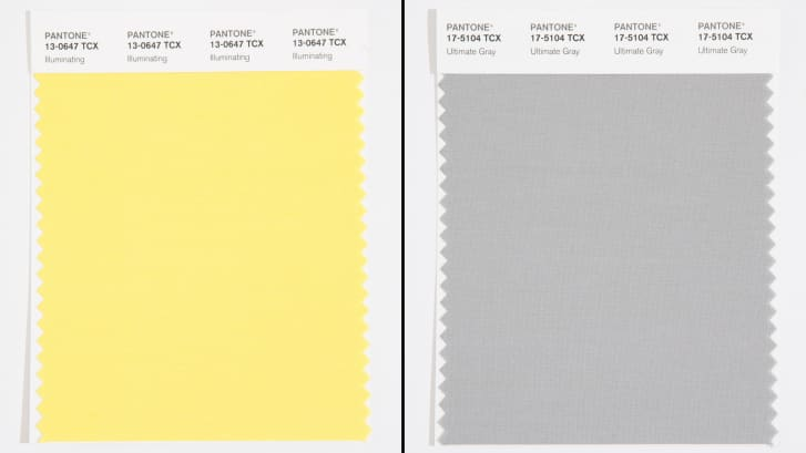 Pantone's swatches for its latest Colors of the Year: Illuminating, a vibrant light yellow, and Ultimate Gray, the first neutral shade to ever be selected.