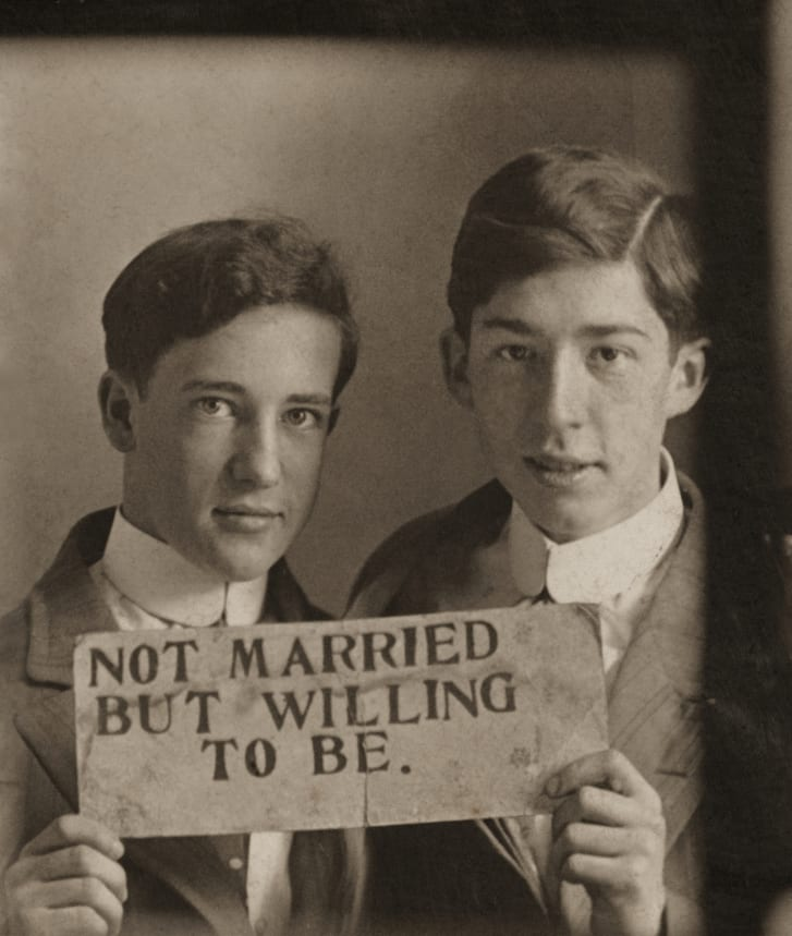 An image believed to be from the turn of the 20th century. Same-sex marriage was legalized in the United States more than 100 years later.