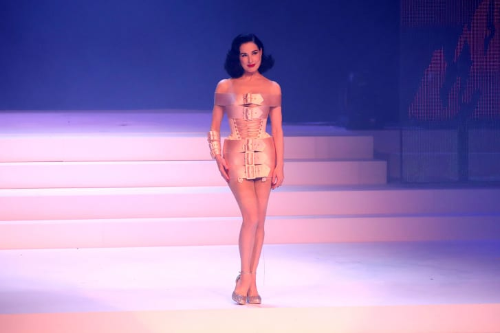 Dita von Teese walks the runway during a Jean Paul Gaultier show in January, shortly before the Covid-19 pandemic brought physical fashion shows to a halt around the world.