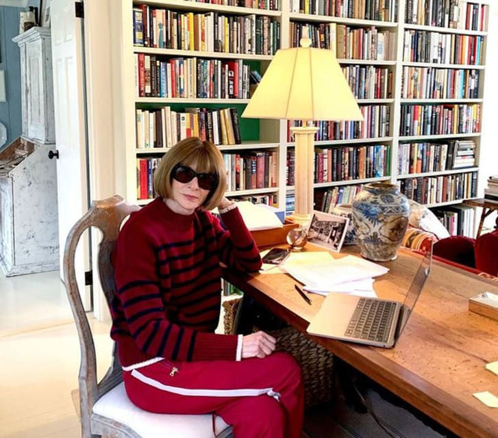 Anna Wintour shocked the fashion when Vogue posted a photo of her wearing sweatpants to Instagram.