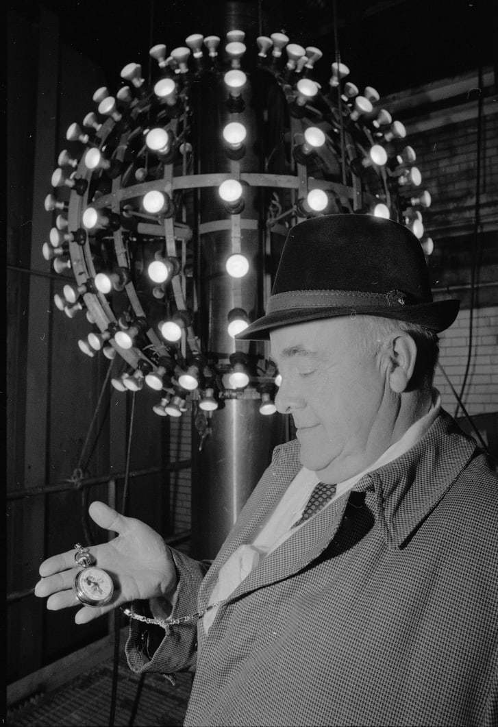 One design of the New Year's Ball was an aluminum cage outfitted with lightbulbs.
