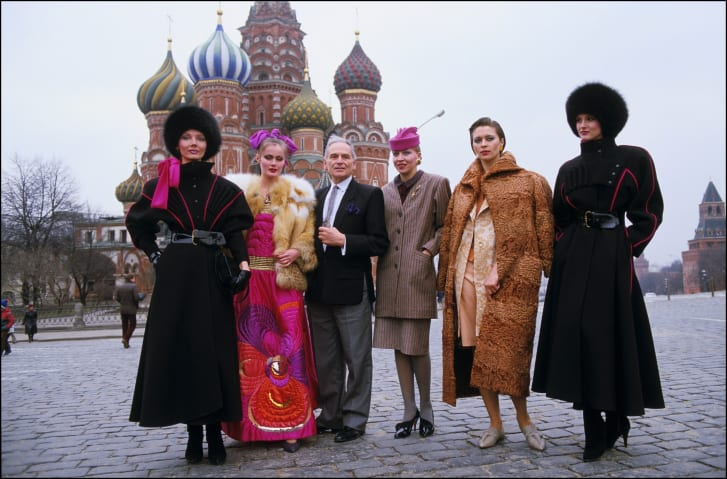 Pierre Cardin presents his collection in Moscow in 1986.