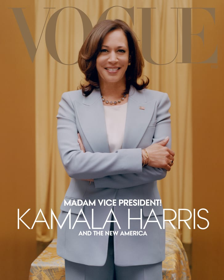 "Vogue revealed a second ""digital"" cover featuring Harris in a blue suit."