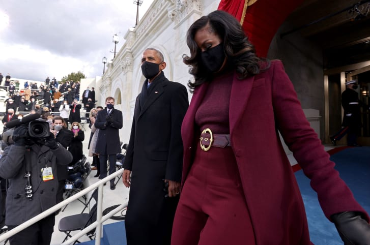 Barack and Michelle Obama arrive for the inauguration of Joe Biden as the 46th US President.