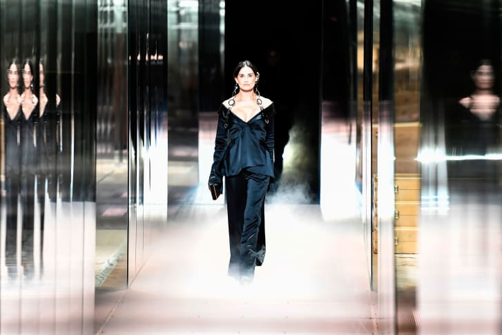 Demi Moore walks the runway at a presentation of Fendi's Spring-Summer 2021 collection at Paris Haute Couture Fashion Week.