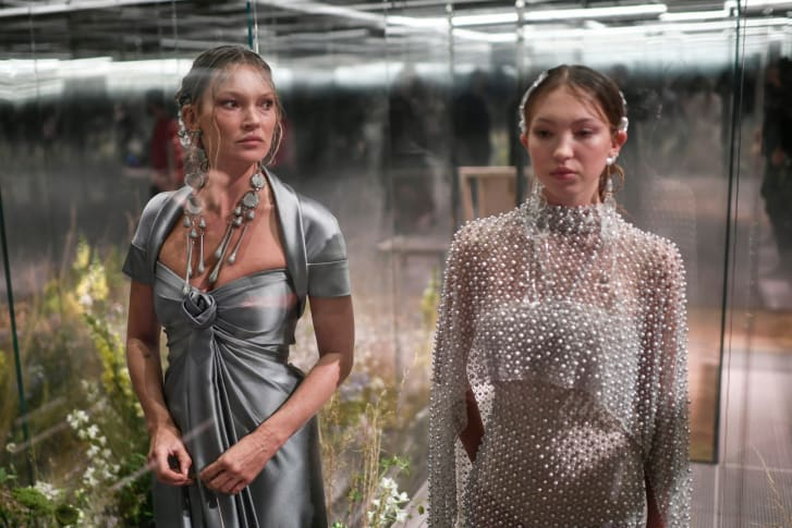 Kate Moss and her daughter Lila Grace Moss appear together at Fendi's Spring-Summer 2021 collection during Paris Haute Couture Fashion Week.