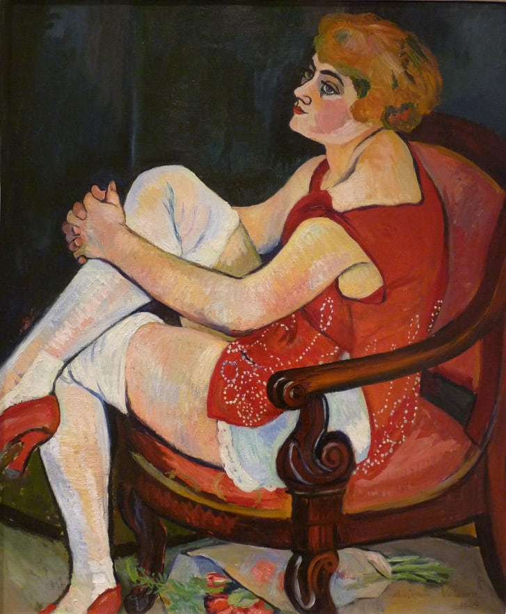 """In Valadon's first showing at the prestigious Salon de la Société Nationale des Beaux-Arts in 1894, for a series of drawings, her listed name, """"Valadon, S.,"""" did not reveal her gender. Pictured: """"Woman in White Stockings,"""" 1924."""