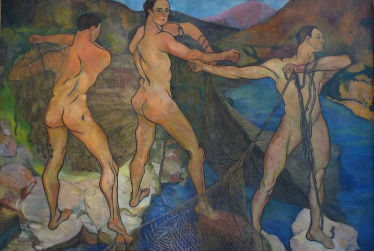"""Valadon's sensual depictions of the male body were daring, like in 1914's """"Casting the Net."""""""