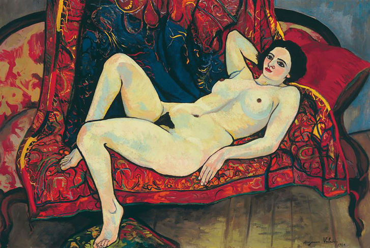 """Valadon's paintings featured contemporary women with body hair, curves and a strong sense of self, diverging from the delicate femininity and timelessness favored in art. Pictured: """"Nude on the Sofa,"""" 1920."""
