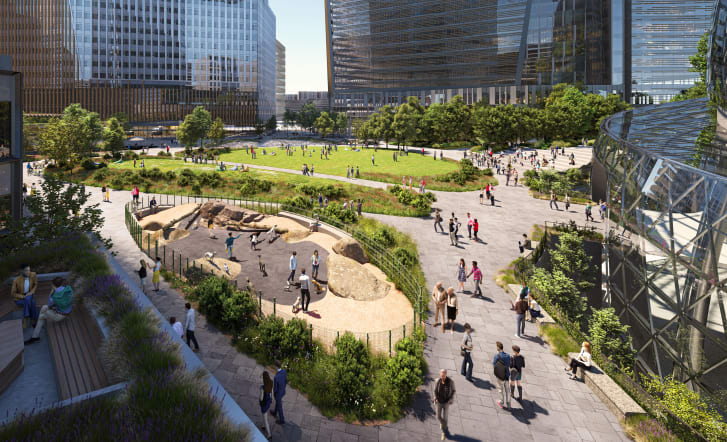 The proposal features 2.5 acres of public space.