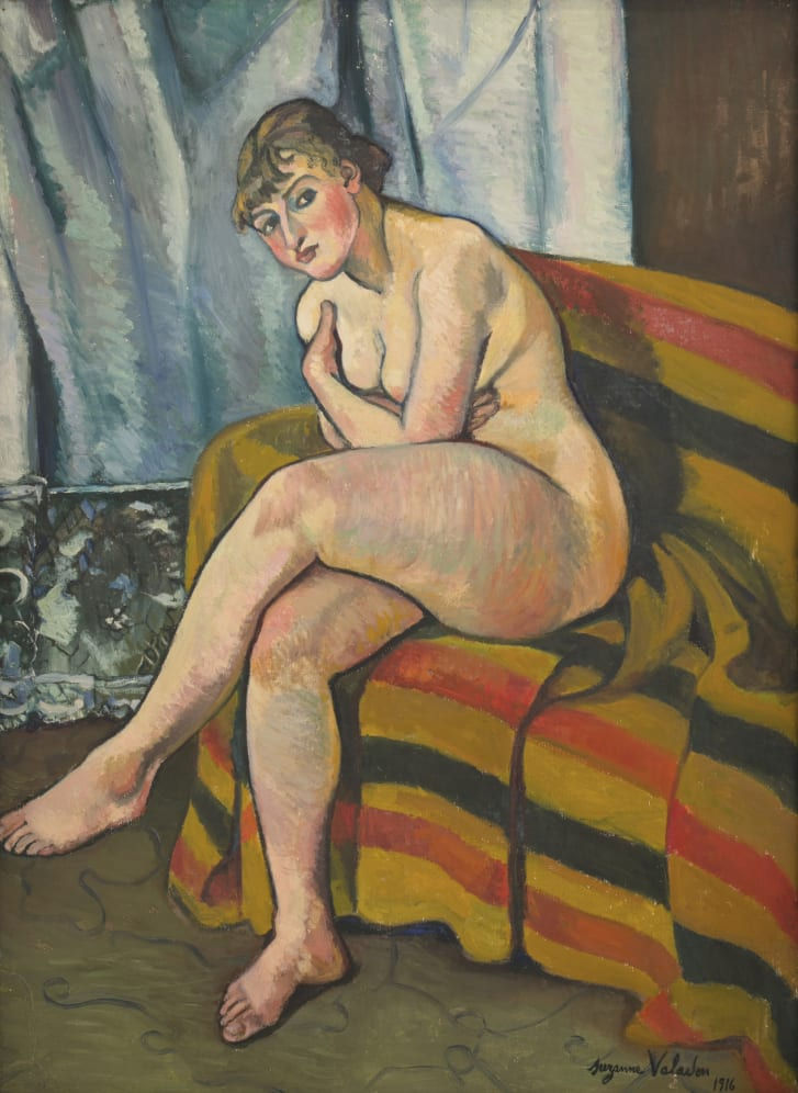 """Valadon will receive her first major US show at the Barnes Foundation in Philadelphia this fall, a century after she began receiving critical acclaim for her work. Pictured: """"Nude Sitting on a Sofa,"""" 1916."""