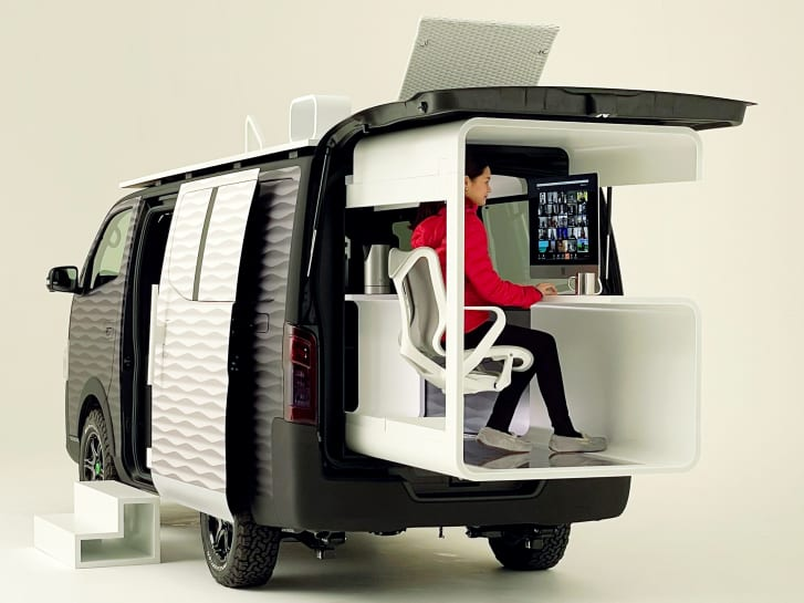 Nissan's new concept camper van, which turns into a home office for remote working.