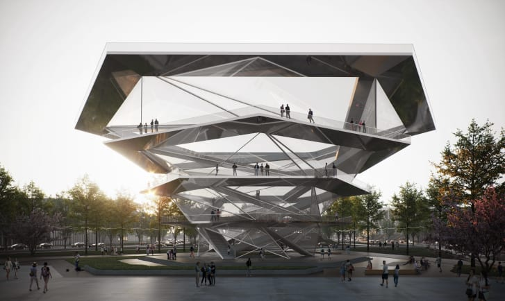 The Eye of the Future is a hexagonal rotating viewing platform.