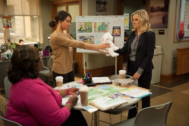"""A scene from """"Parks and Recreation: Galentine's Day"""""""
