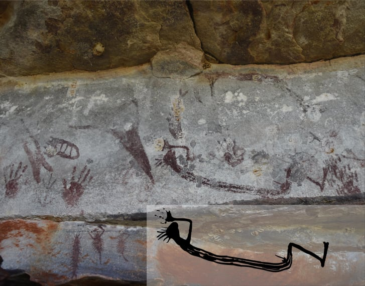 A rare depiction of a human figure from the oldest style of painting in Kimberley.