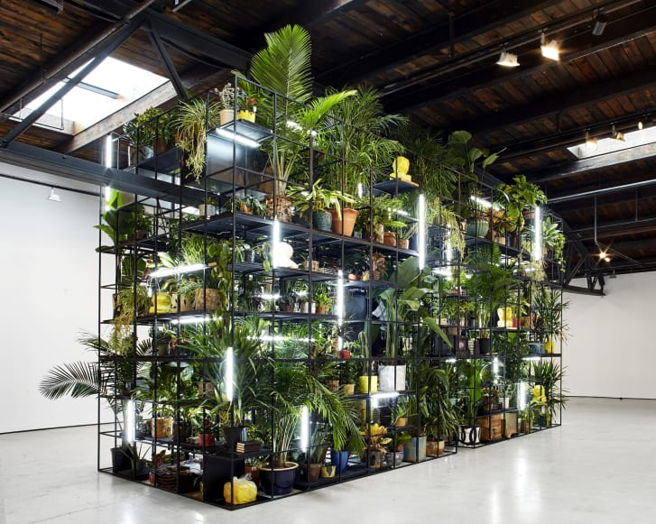 """Rashid Johnson's """"Antoine's Organ,"""" brings together lights, plants and various objects within a black steel frame."""