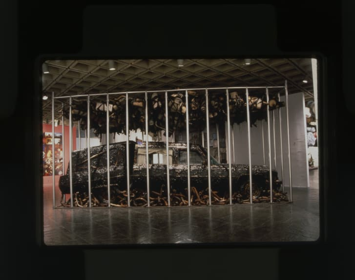 """The original version of Nari Ward's installation """"Peace Keeper,"""" pictured at the Whitney Museum of American Art in 1995."""