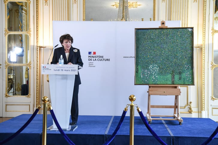 """French Culture Minister Roselyne Bachelot said the return of the painting was France's """"profound duty."""""""