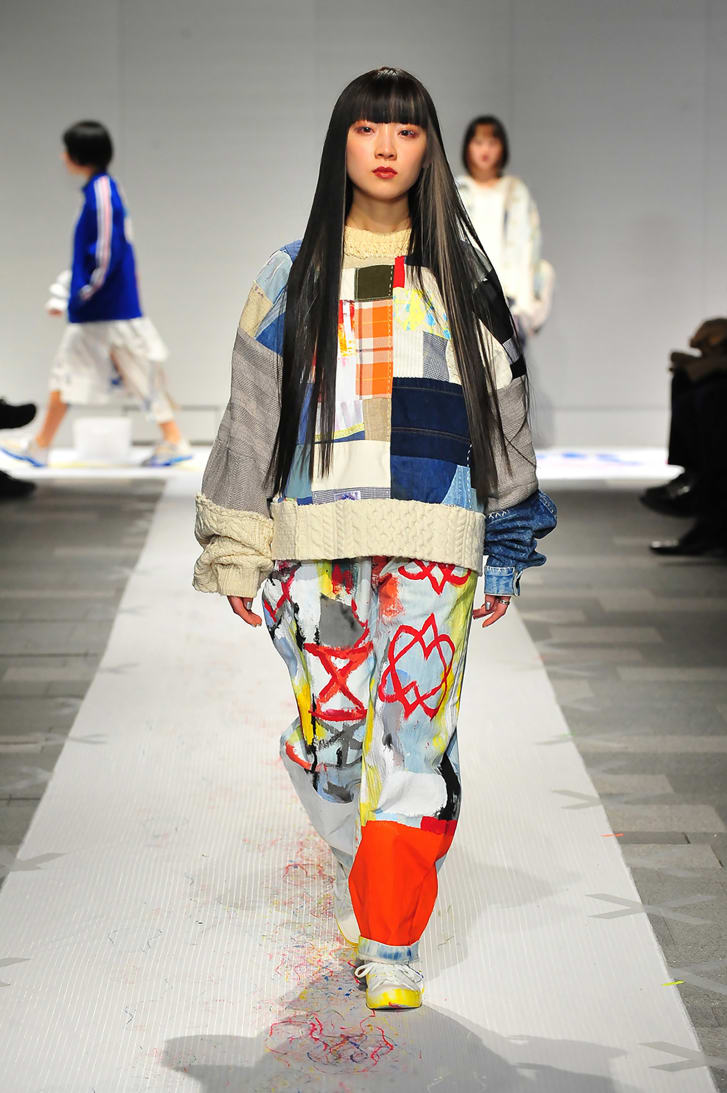 Nisai, a brand that upcycles used and vintage clothing, shows at Tokyo's Rakuten Fashion Week on March 15.