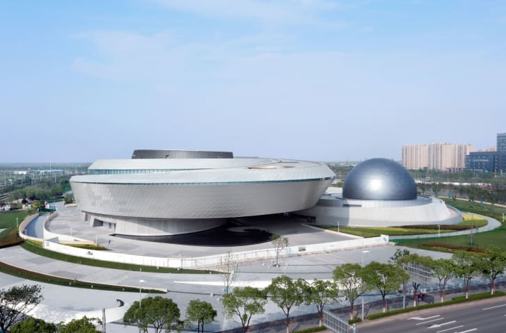 The Shanghai Astronomy Museum was intentionally designed without straight lines or right angles.