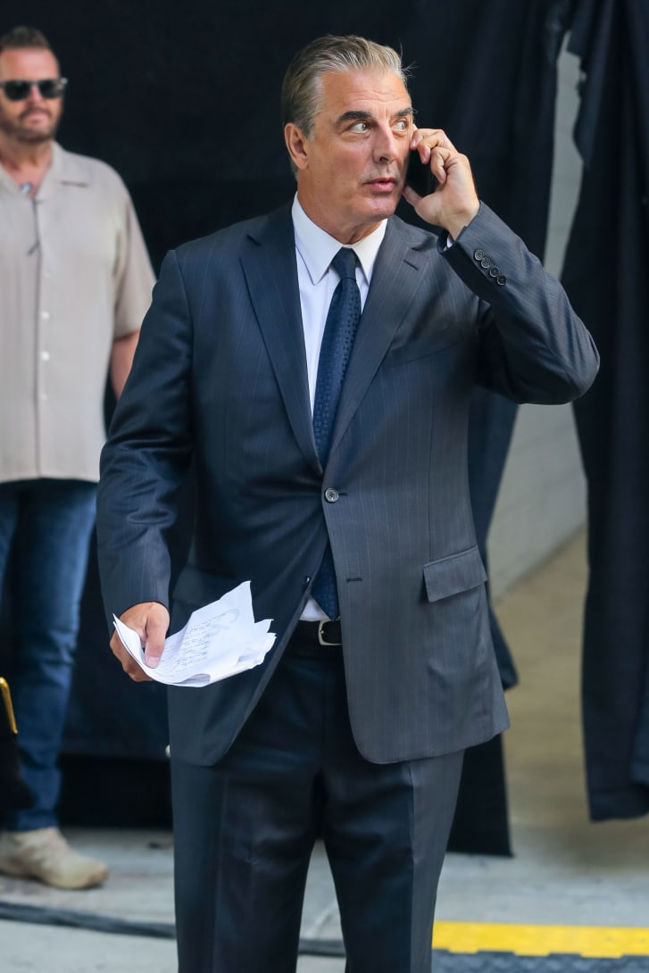 Chris Noth wore a sharp blue suit on set of  'And Just Like That' this August.