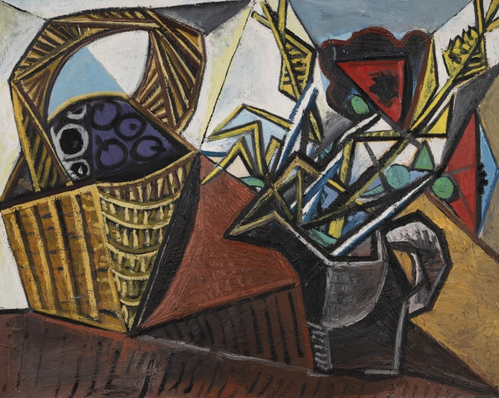"""""""Nature morte au panier de fruits et aux fleurs,"""" a painting from 1942. During this period Picasso """"painted with a really heavy application of paint, almost reminiscent of Van Gogh,"""" said Sotheby's Brooke Lampley."""