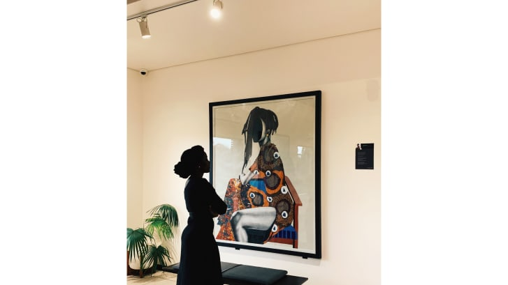 """Suowari opened her new solo exhibition, """"Now I Wear Myself"""", at RetroAfrica in Abuja in June."""