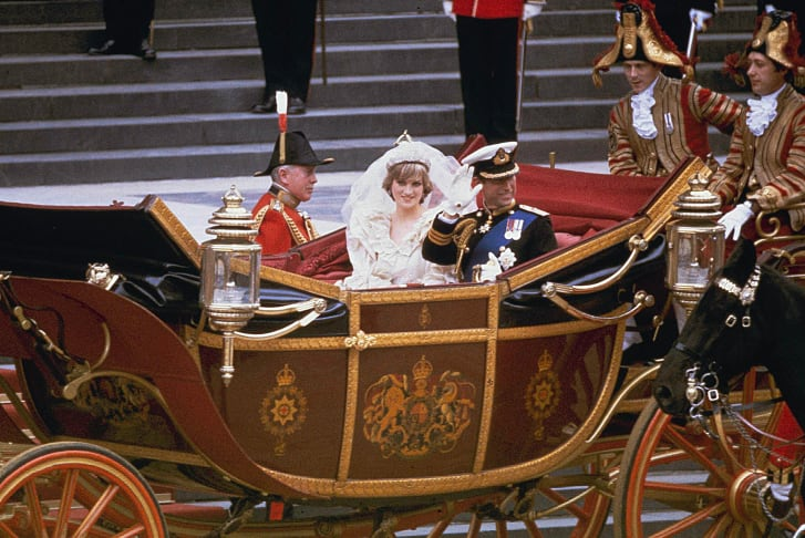 Charles and Diana pictured in a carriage after their wedding.
