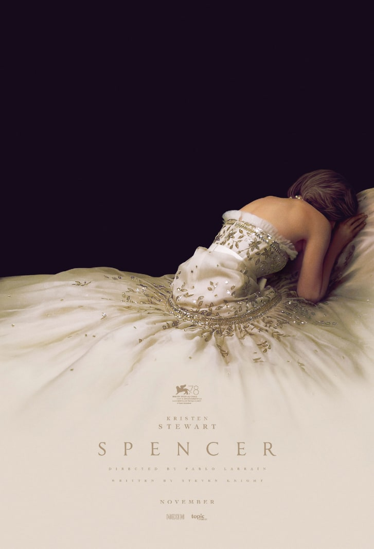 "The new ""Spencer"" poster depicting Kristen Stewart as Princess Diana."