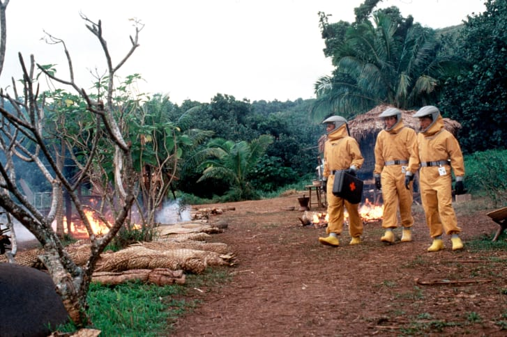"""A still from the 1995 """"Outbreak,"""" starring Dustin Hoffman and Morgan Freeman."""