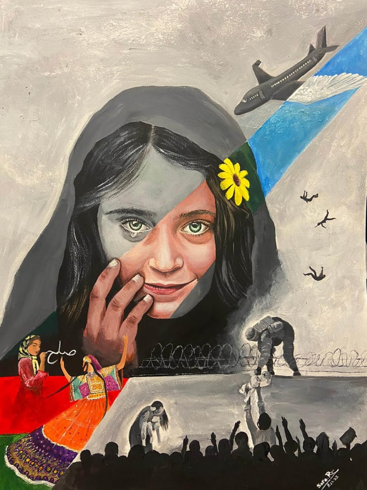 Sara Rahmani's image represents her homeland's fall to the Taliban.