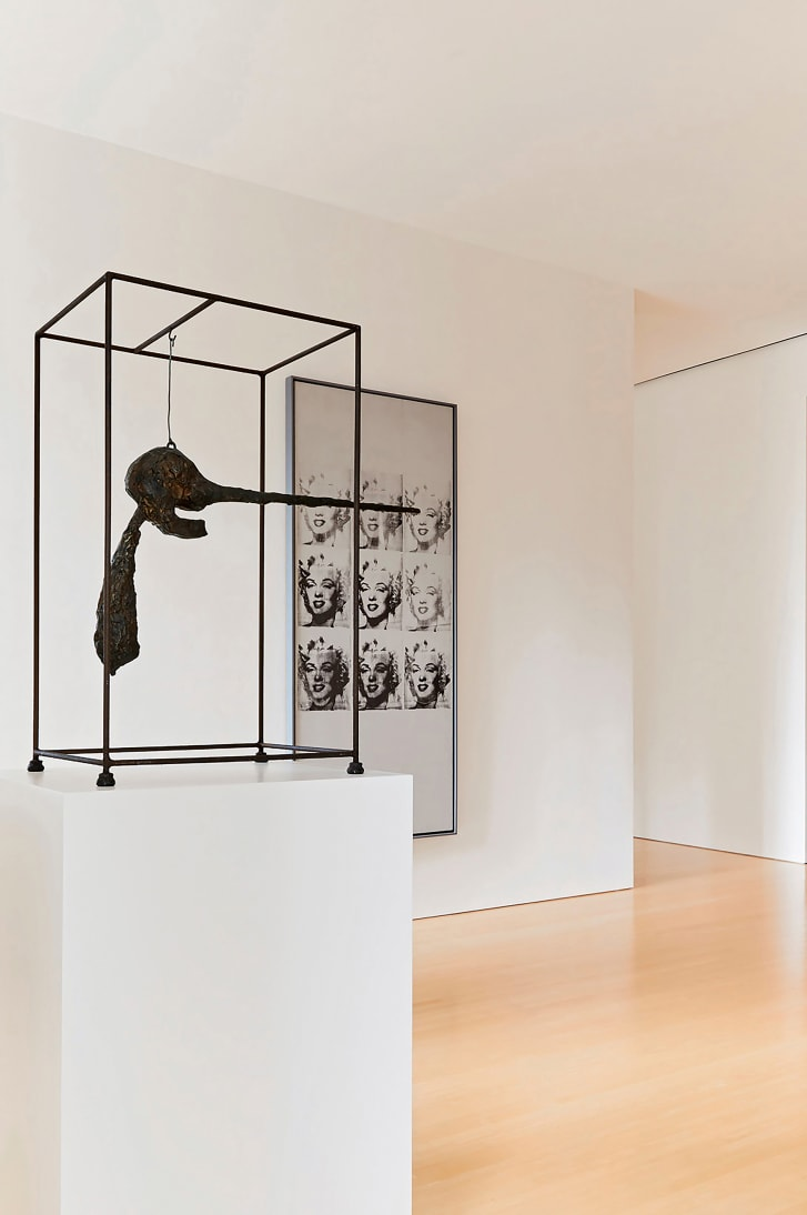 """Giacometti's """"Le Nez"""" (left) and Warhol's """"Nine Marilyns."""""""