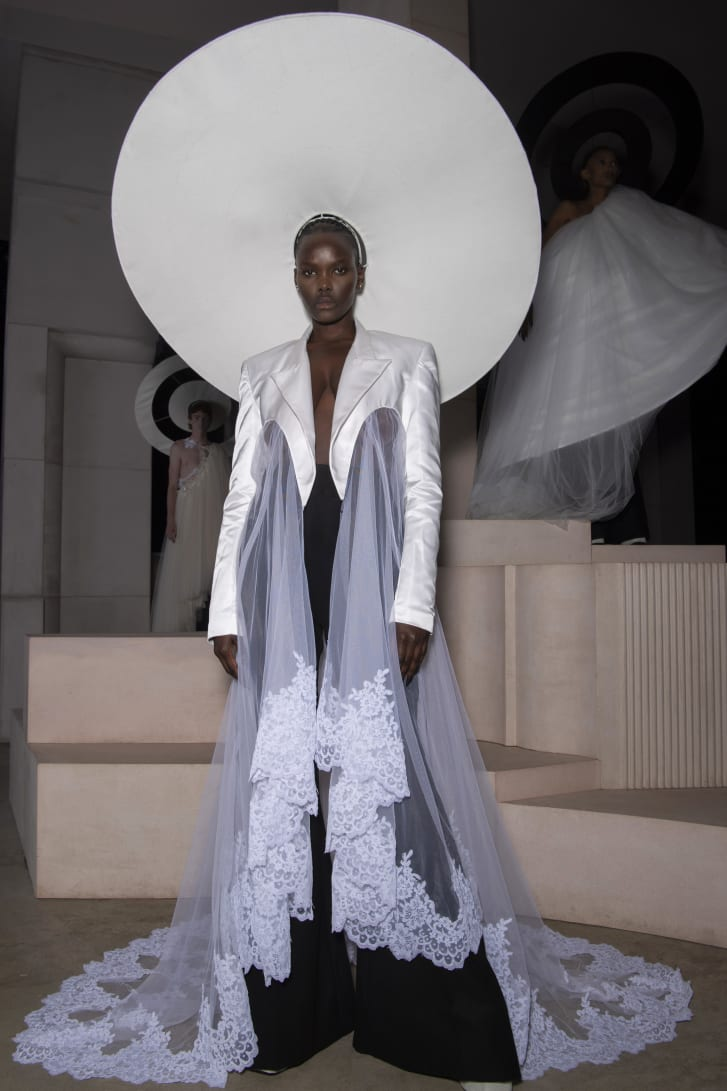 Harris Reed hoped to challenge the heteronormative ideology of traditional weddings by melding bridal pieces and groomswear tailoring.