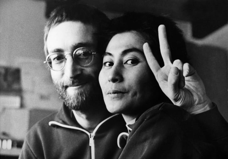 John Lennon and Yoko Ono in Denmark in 1970. The pair cut their hair after their interview with the schoolboys, where they were seen with long hair in photographs.