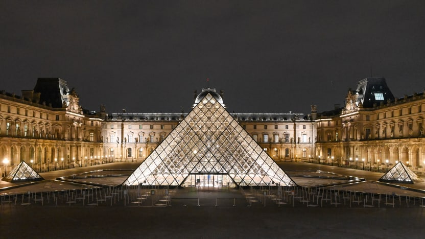 Louvre Museum in Paris during France's second lockdown on November 7, 2020.