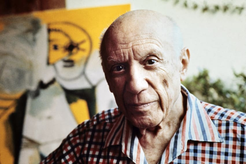 Pablo Picasso captured on October 1971 in Mougins, France.