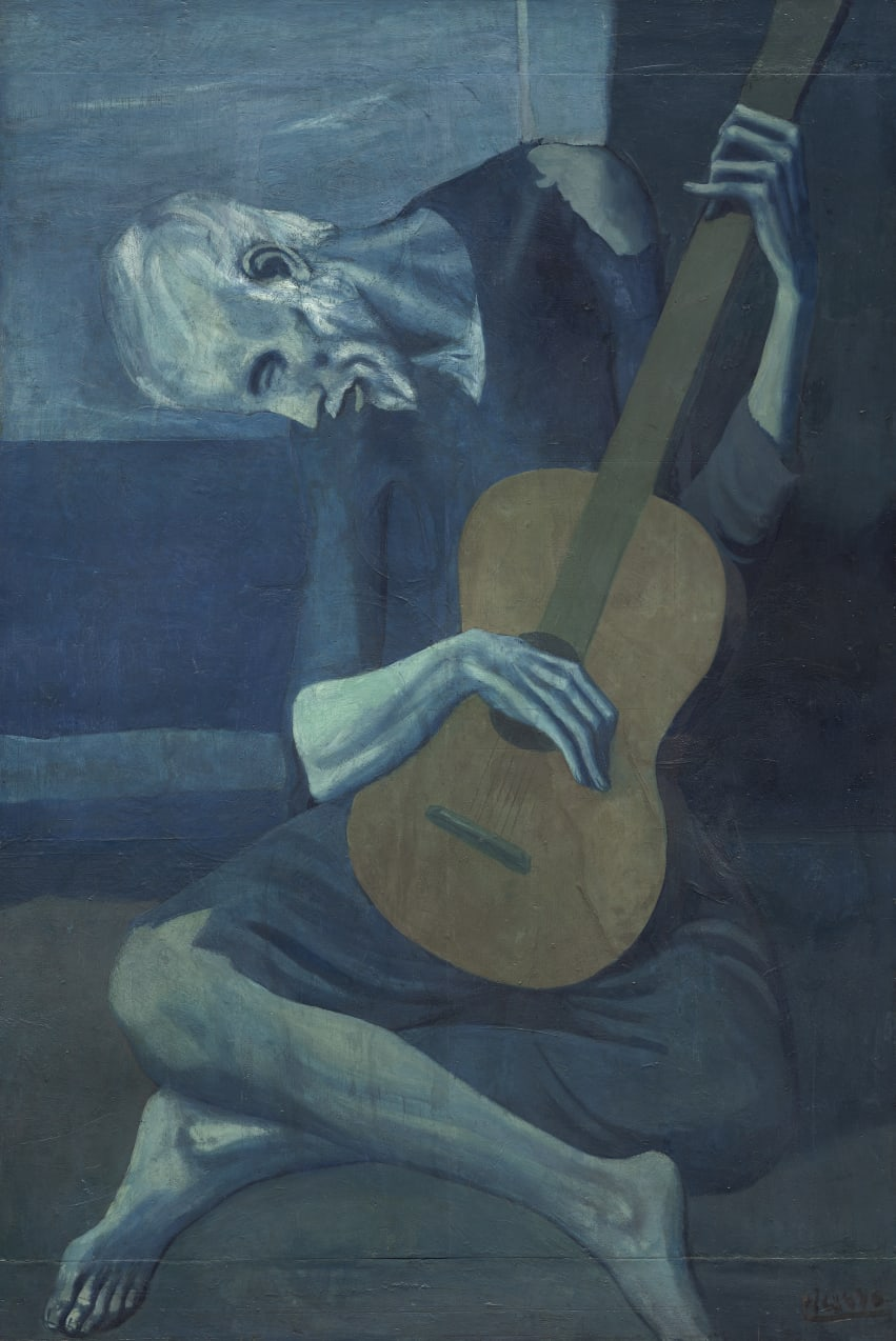 """The Old Guitarist"" comes from Picasso's ""blue period."""