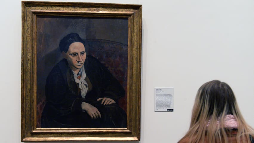 """Gertrude Stein"" is in the permanent collection of the Met. Stein's interest in Picasso's work was a turning point in his career."