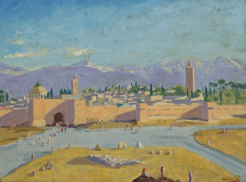 Tower of Koutoubia Mosque painted by Winston Churchill