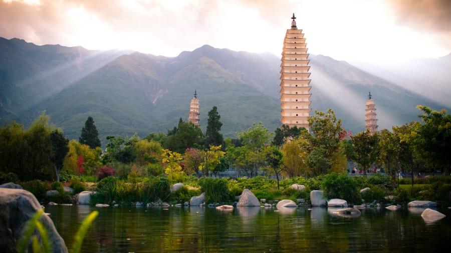 China Beautiful Places Three Pagodas Dali