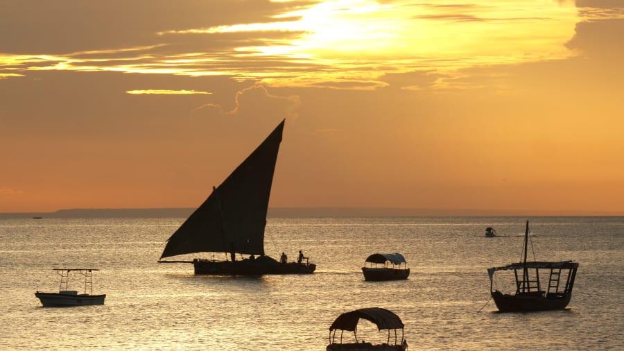 zanzibar boat sunset