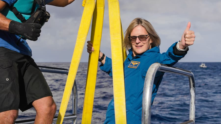World first: Former NASA astronaut Kathy Sullivan has just become the first person in the world to visit both the deepest point on Earth and outer space. Enrique Alvarez/EYOS Expeditions