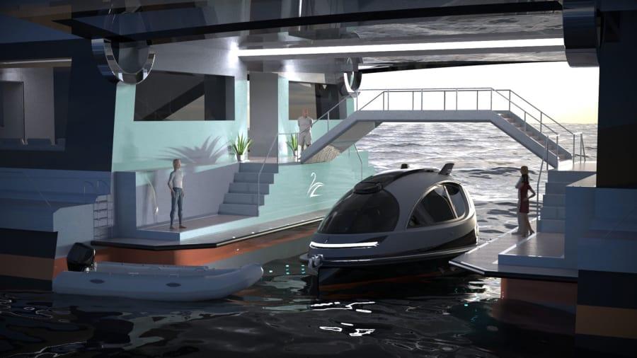 Saturnia-superyacht-concept --- port-view --- Lazzarini-design-studio