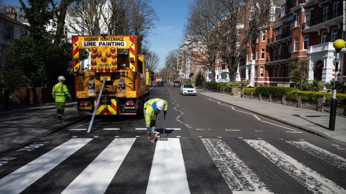 London's Abbey Road repainted amid coronavirus lockdown