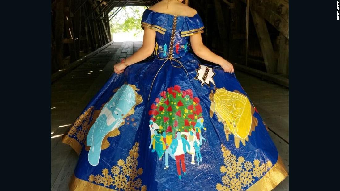 Teen's coronavirus-themed prom dress made of duct tape is a work of art