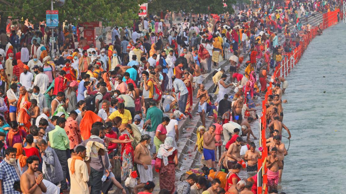 Millions of Hindu pilgrims head to Ganges River as India's daily coronavirus cases continue to surge