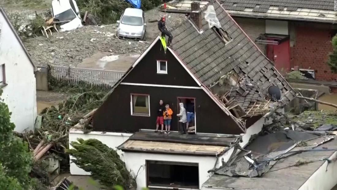 Germany flooding: Dramatic scene as helicopter rescues Germans stranded by floods - CNN Video