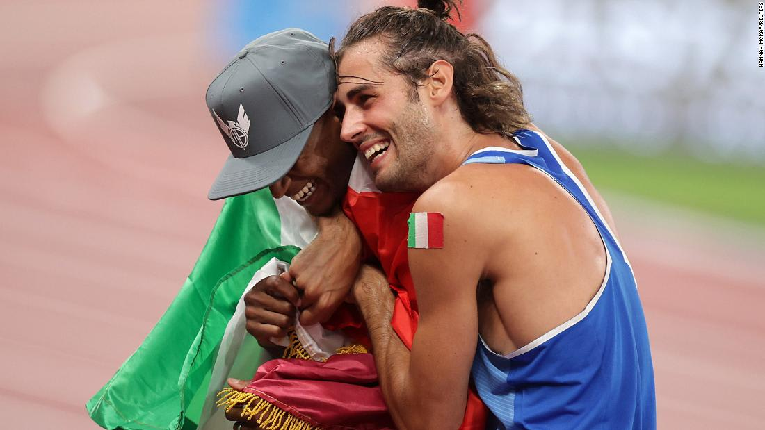 High jumpers share Olympic gold in emotional final